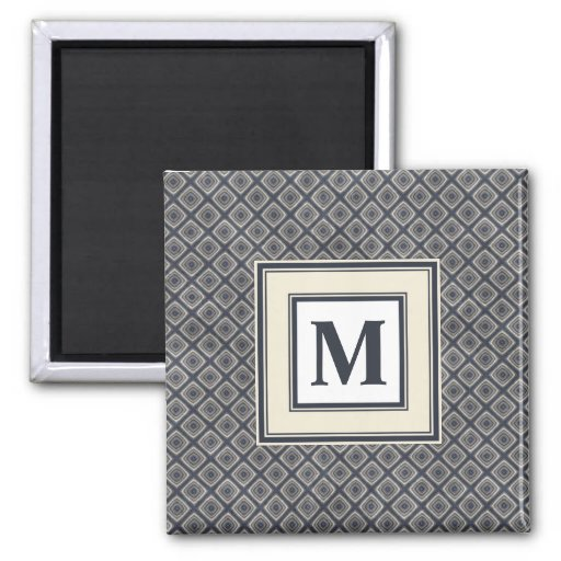 Masculine Geometric Squares Pattern Blue and Beige Magnet