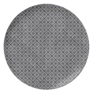 Masculine Geometric Squares Pattern Blue and Beige Plate