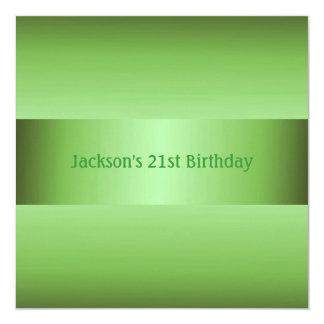 Masculine Green 21st Birthday Party 13 Cm X 13 Cm Square Invitation Card