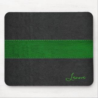 Masculine Green & Black Leather Monogram Mouse Mat