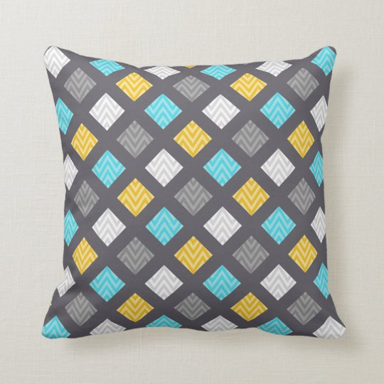 Masculine Grey Blue Yellow Geometric Pattern Throw Pillow