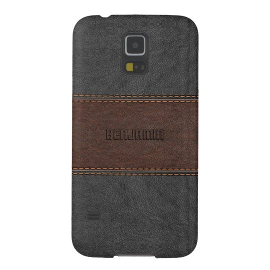 Masculine Grey & Brown Stitched Leather Case For