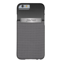 Masculine Grey Metal Chain Look Monogram Barely There iPhone 6 Case