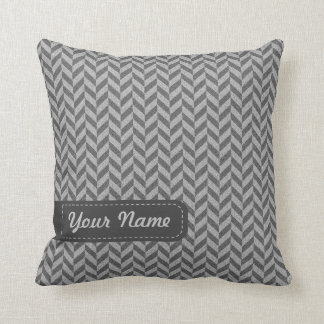 Masculine Herringbone Chevrons Pattern in Greys Cushion
