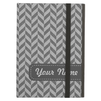 Masculine Herringbone Chevrons Pattern in Greys iPad Air Case