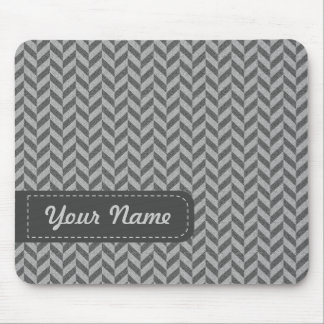 Masculine Herringbone Chevrons Pattern in Greys Mouse Pad