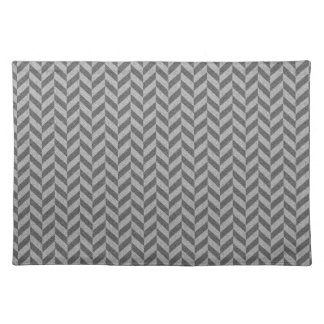 Masculine Herringbone Chevrons Pattern in Greys Placemat