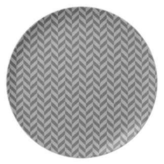 Masculine Herringbone Chevrons Pattern in Greys Plate