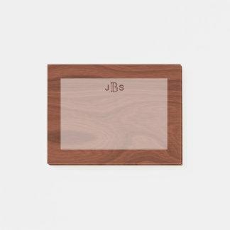 Masculine Initials Monogram | Mahogany Wood Look Post-it Notes