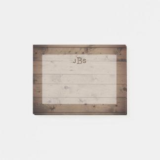 Masculine Initials Monogram | Rustic Wood Look Post-it Notes