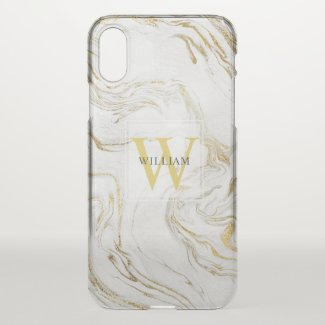 Masculine Marbled Monogram Minimalist Typography Uncommon iPhone Case