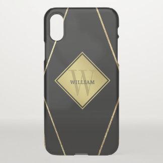 Masculine Men's Monogram Gold Geometric Frame iPhone X Case