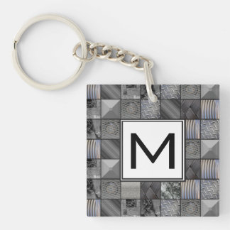 Masculine Monochrome Mosaic Pattern Monogram Key Ring