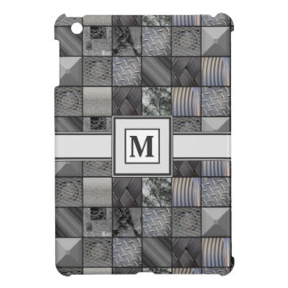 Masculine Monochrome Mosaic Tiled Pattern iPad Mini Cover