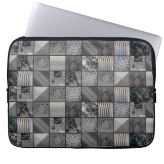 Masculine Monochrome Mosaic Tiled Pattern Laptop Sleeve