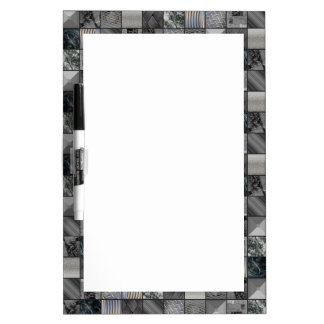 Masculine Monochrome Tiled Mosaic Pattern Dry Erase Board