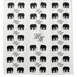 Masculine Monogram Black and White Elephants Shower Curtain