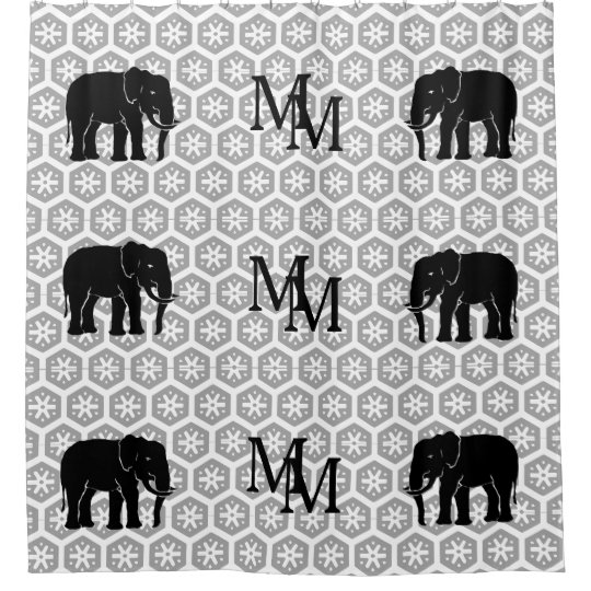 Masculine Monogram Black and White Elephants Shower Curtain