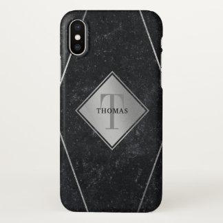 Masculine Monogram Black Granite Silver Geometric iPhone X Case