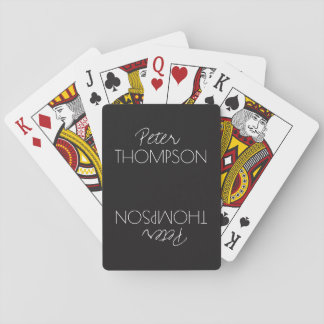 masculine monogram black playing cards