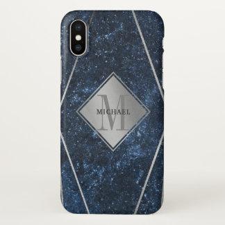 Masculine Monogram Blue Granite Silver Geometric iPhone X Case