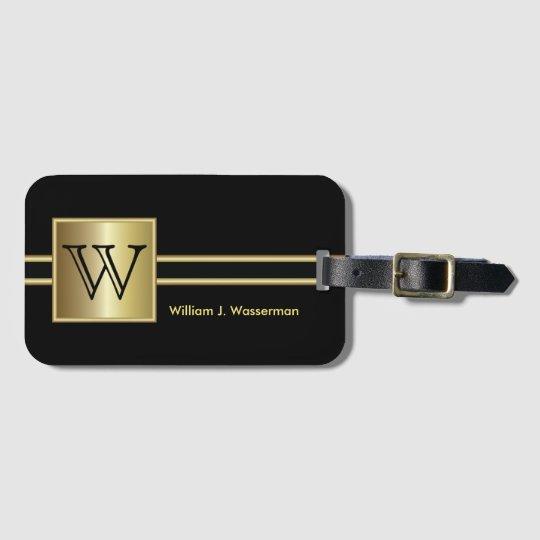 Masculine Monogram Executive Style - Black & Gold
