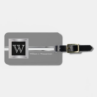 Masculine Monogram Executive Style - Silver Gray Luggage Tag