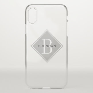 Masculine Monogram Simple Smoke Gray Overlay iPhone X Case