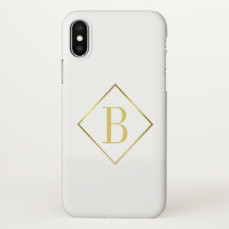 Masculine Monogram Stylish Gold Frame Overlay iPhone X Case