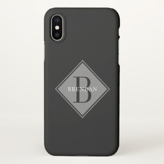 Masculine Monogram Stylish Smoke Gray Overlay iPhone X Case