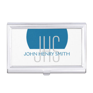 Masculine monogrammed blue gray professional business card holder