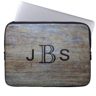 Masculine Monogrammed Initials | Rustic Wood Look Computer Sleeve