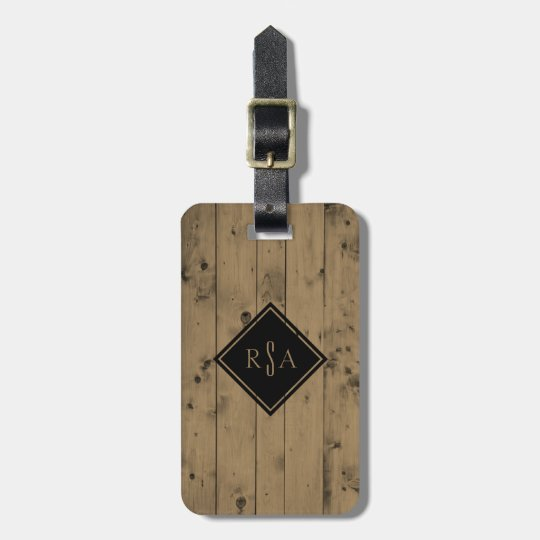Masculine Monogrammed Initials | Rustic Wood Plank Luggage