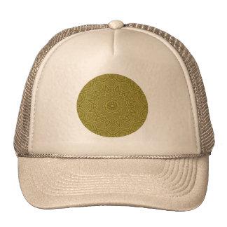 Masculine Olive and Gold Geometric Mandala Cap