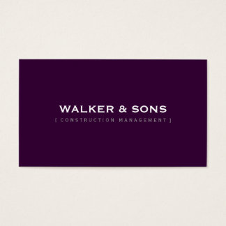 MASCULINE plain simple smart eggplant aubergine Business Card