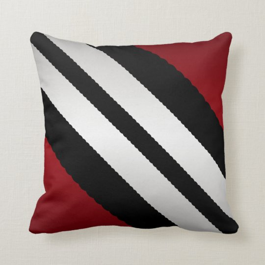 Masculine Red Black Grey Stripes Design Cushion