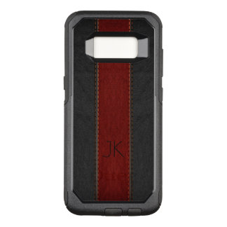Masculine Red & Black Vintage Leather OtterBox Commuter Samsung Galaxy S8 Case