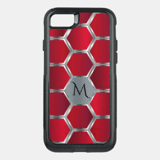 Masculine Red & Silver Geometric Pattern OtterBox Commuter iPhone 8/7 Case