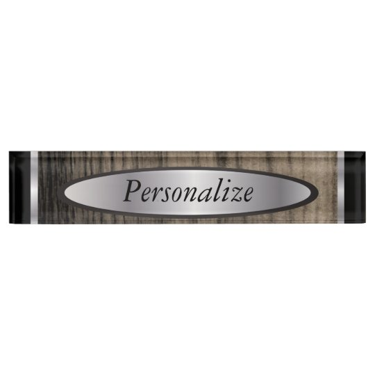 Masculine Styled Silver and Wood Nameplate