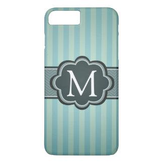 Masculine Teal Blue Stripes Custom Monogram iPhone 7 Plus Case