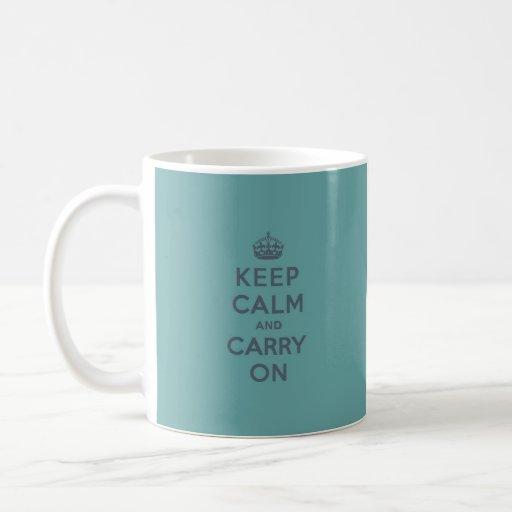 Masculine Teal Keep Calm and Carry On Basic White Mug