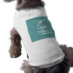 Masculine Teal Keep Calm and Carry On Dog Tshirt