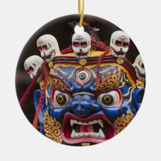 Mask dance performance at Tshechu Festival 2 Round Ceramic Decoration