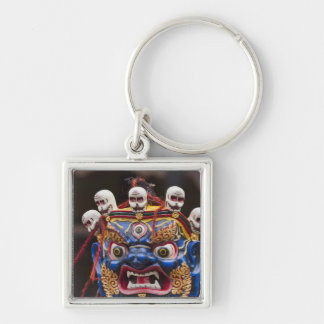 Mask dance performance at Tshechu Festival 2 Silver-Colored Square Key Ring
