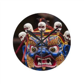 Mask dance performance at Tshechu Festival 2 Wall Clocks