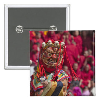Mask dance performance at Tshechu Festival 3 15 Cm Square Badge