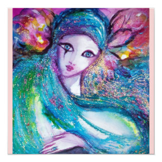MASK IN BLUE Elegant Venetian Masquerade Party 13 Cm X 13 Cm Square Invitation Card