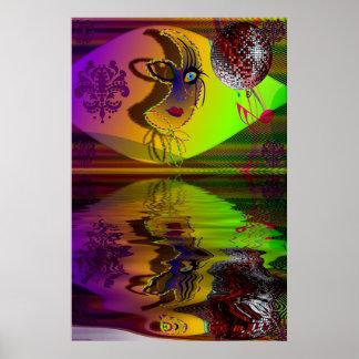 Mask Mardi Gras Trompe l'oeil-V-2 R Print