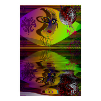 Mask Mardi Gras Trompe l'oeil-V-2 R Poster