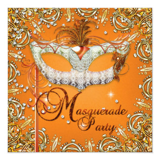 Mask Masquerade Orange Birthday Party Gold 13 Cm X 13 Cm Square Invitation Card